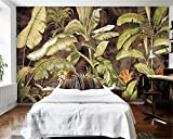 YShasaG Silk mural Photo Wallpaper Tropical Plant Banana Leaves Banana Flower Oil Painting Background Wall Decoration 3D Wall Paper,275cm*252cm