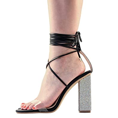 049b26cd625 Women s Gladiator Ankle Strap Clear Rhinestone Lace up Chunky High Heel Strappy  Sandals (7