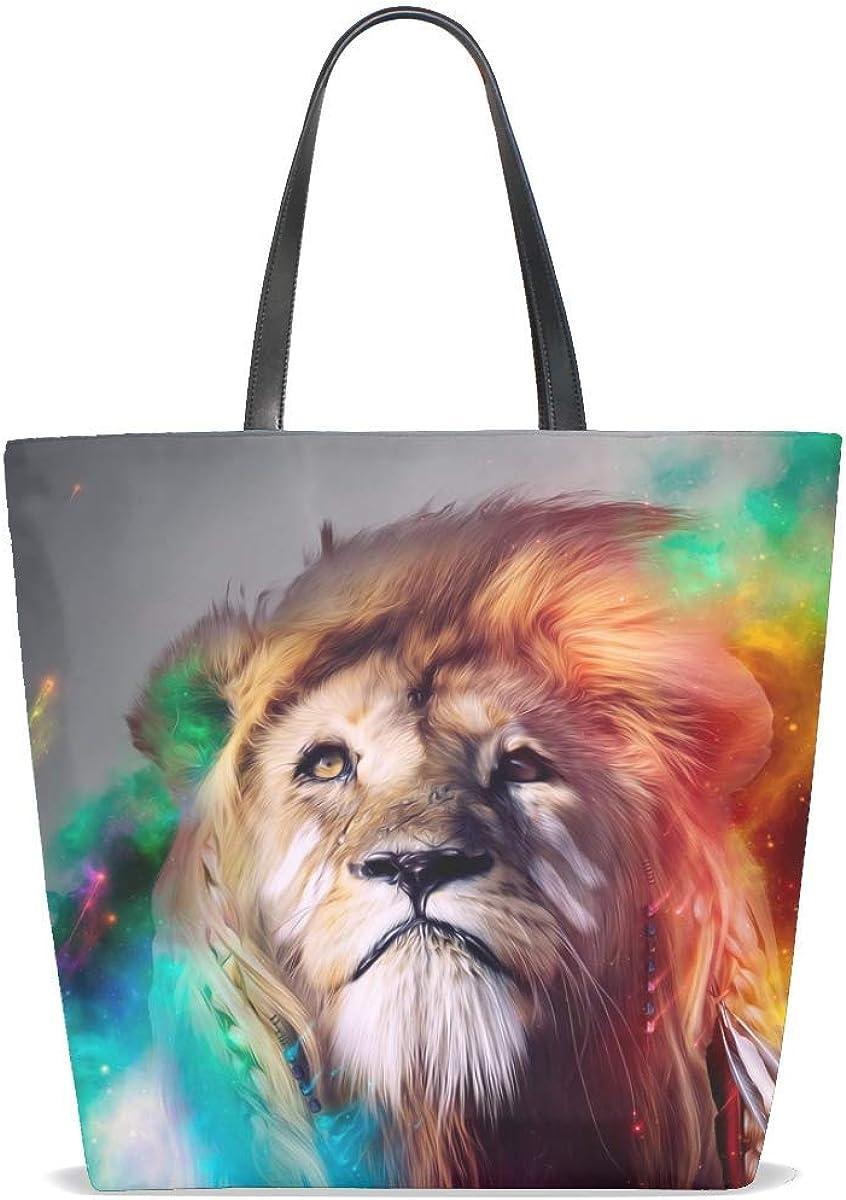 Lion Big Cat Face Smoke Colored Tote Bag Purse Handbag For Women Girls