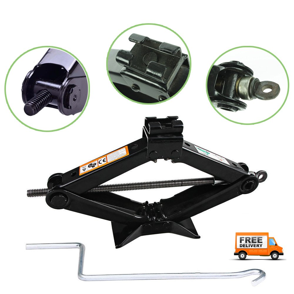 Scissor Car Jack 2 Ton Wind Up Stabilizer Lift Tire Changing