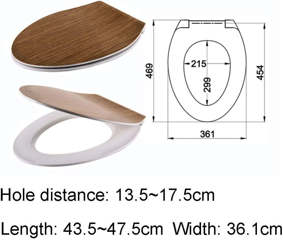 alarga el grano de madera Resina universal Forma en V Asiento del inodoro Mute Antibacteriano Urea formaldeh/ído Tapa de inodoro de montaje superior Accesorios de aseo Tapa del inodoro