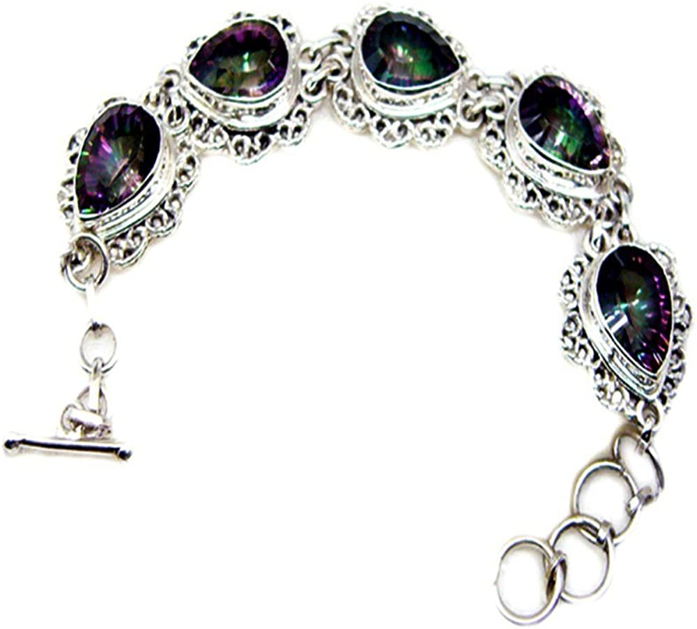 55Carat Real Handmade Garnet Sterling Silver Bracelet for Gift Healing Link Style Astrological L 6.5-8 Inch