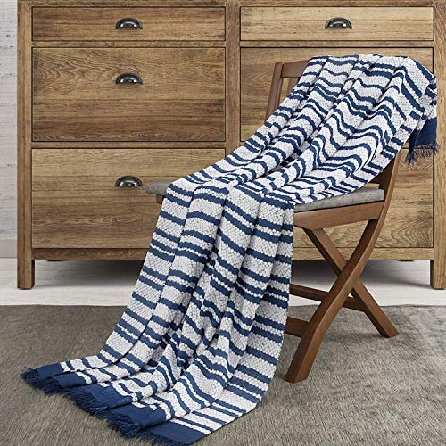 The Wish Tree Co. 50x60 Navy Blue Luxury Knitted Cotton Stripe Throw Blanket with Fringe-Super Soft, Warm, Lightweight (500 Grams) & Large for Bed, Chair, Couch, Sofa, Camping, Beach Or Travel (Beach Chairs Decorative)