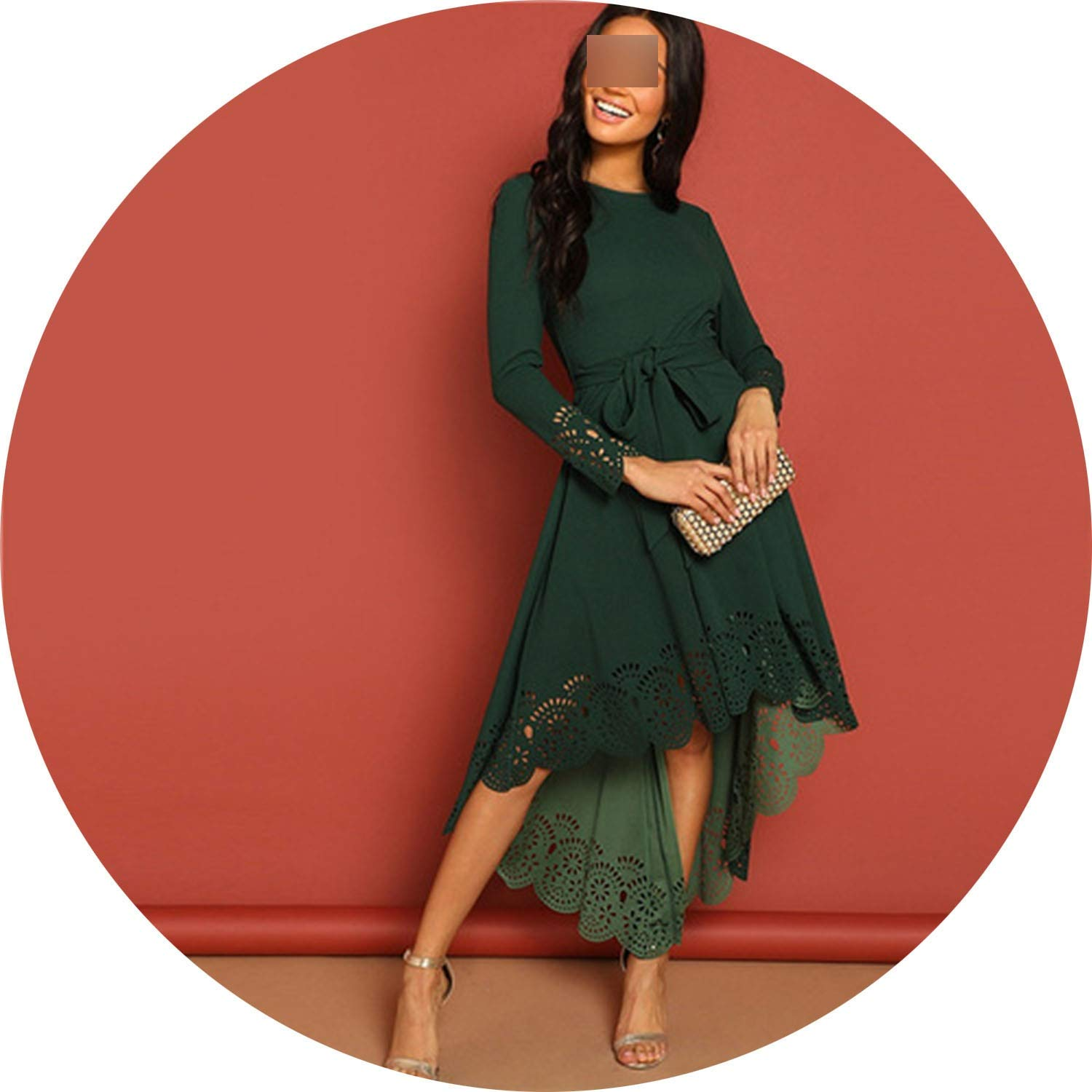 Green White Island Laser Cut Fit and Flare Belted Scallop Hem Mid Waist Zipper Back Long Sleeve Dress Women Party Dresses