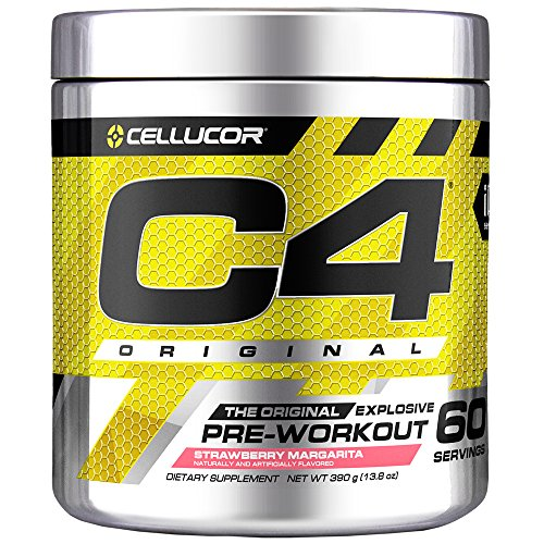 Cellucor C4 Original Pre Workout Powder Energy Drink Supplement For Men & Women with Creatine, Caffeine, Nitric Oxide Booster, Citrulline & Beta Alanine, Strawberry Margarita, 60 Servings