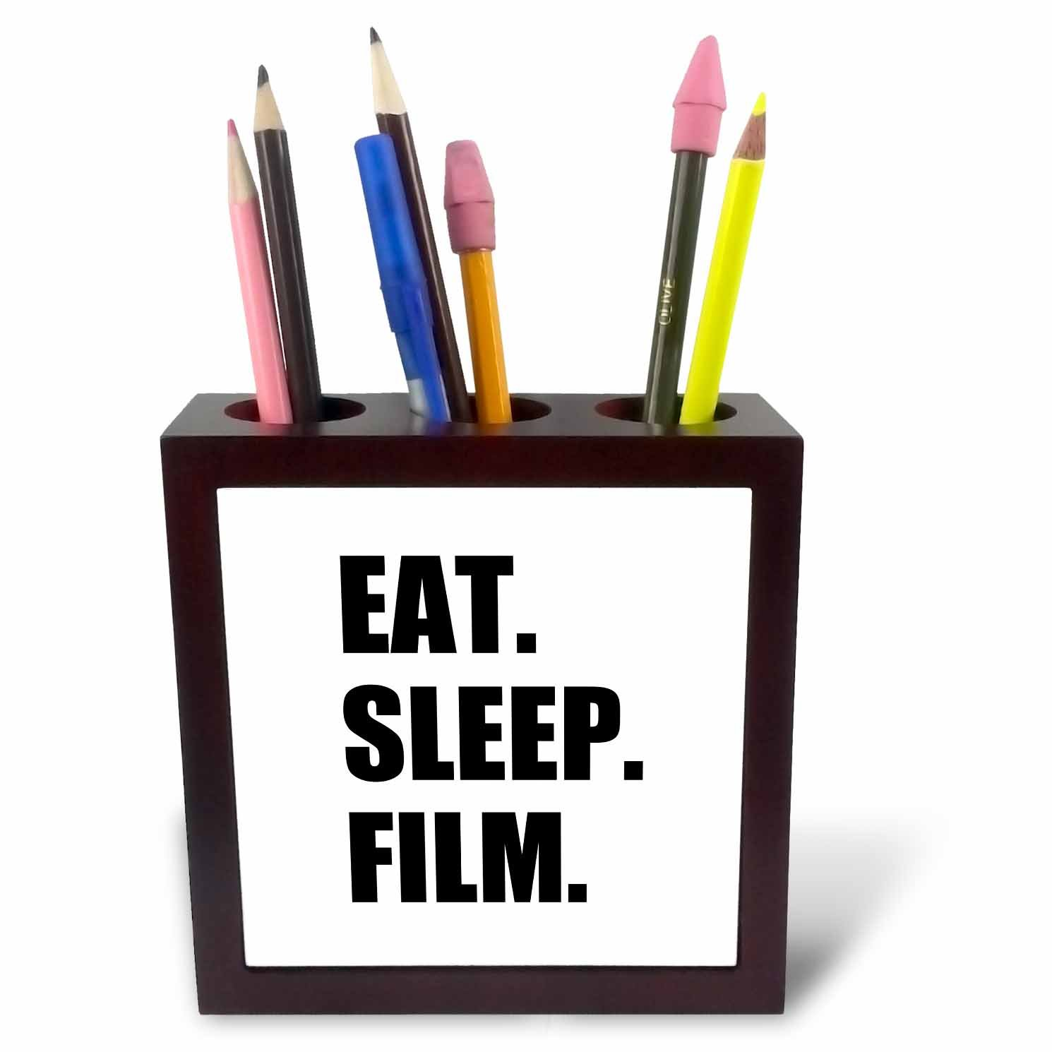 3dRose ph_180402_1 Eat Sleep Film Gifts For Movie Makers And Video Making Enthusiasts Tile Pen Holder, 5''