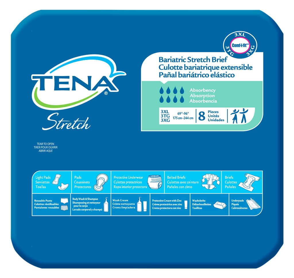 Amazon.com: TENA Stretch Bariatric Brief, 3X-Large, 8 Count (Pack of 4): Health & Personal Care