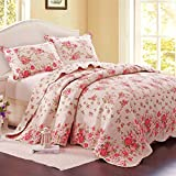 Alicemall Pastoral Bedding Set Pink Flower Prints 3-Piece Cotton Bed in a Bag, Lovely Country Quilts/ Bedspreads Set, King Size (1 * Quilt and 2 * Pillowcases)