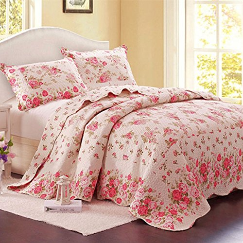 Rose Queen Quilt (Alicemall European Pastoral Bed in a Bag Pink Rose Comforter Set 100% Cotton Romantic Sweet Pink Flower Print 3-Piece Bedspread/ Quilt Set, 3 Pieces, Queen/King Size (Queen/King, Pink))