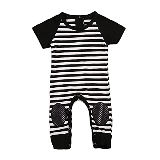 cd78a5385700 Amazon.com  ABEE Newborn Infant Baby Boys Striped Romper Jumpsuit ...