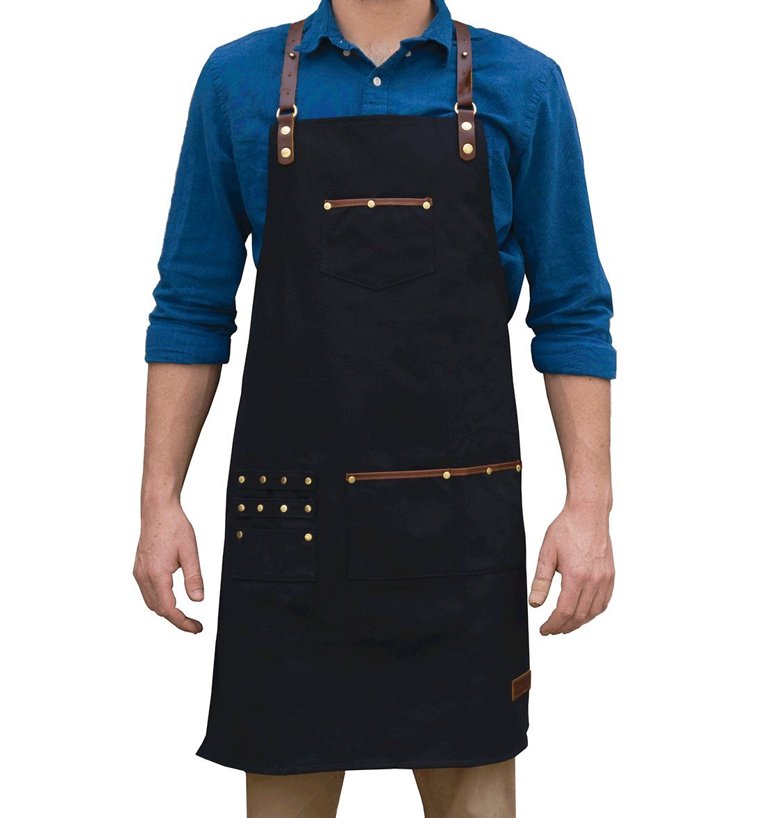 Waterproof Canvas Professional Apron - Barbers / Baristas / Artists - Genuine Leather Straps - ApronMen Premium Black Work Apron with Slot Pockets for Scissors & Tools - Comfort Fit Back Straps by ApronMen