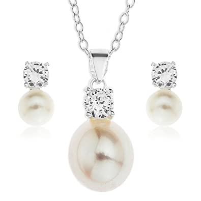 Ornami Sterling Silver Pearl and Cubic Zirconia Pendant and Earring Set with 46 cm Chain XHwaf