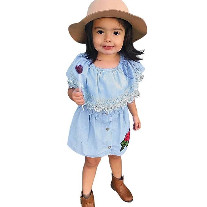 Longra Baby Kinder Kleider Mädchen Kleider Jeanskleid Off-Shoulder ...