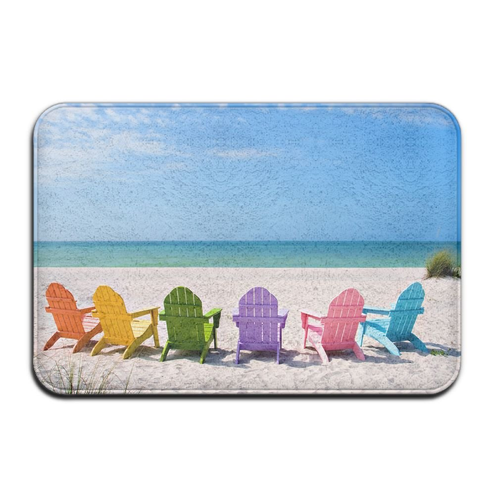 BINGO BAG Summer Beach Chair Indoor Outdoor Entrance Printed Rug Floor Mats Shoe Scraper Doormat For Bathroom, Kitchen, Balcony, Etc 16 X 24 Inch