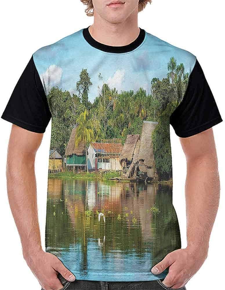 BlountDecor Printed T-Shirt,Tropical  Riverside Fashion Personality Customization