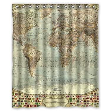 CozyBath Vintage World Map Waterproof Polyester Fabric 60 (w) x 72 (h) Shower Curtain and Hooks