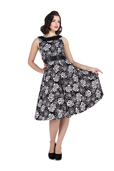 Womens Black & White Vintage Style Flashy Rose Swing Dress ...