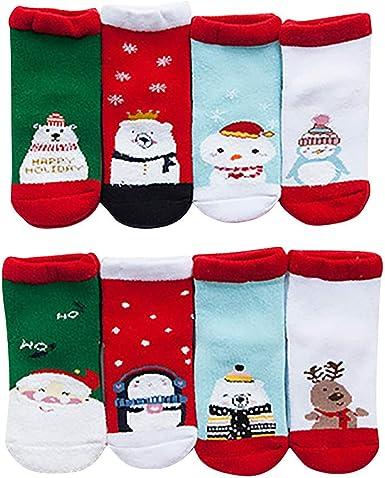 Navidad Calcetines Invierno Caliente Mujer Niño Niña 4 Pack Santa Elk Calcetines Deportivos Caja de Regalo Caja de Regalo de calcetín Calcetines para Bebés y Adulto: Amazon.es: Ropa y accesorios