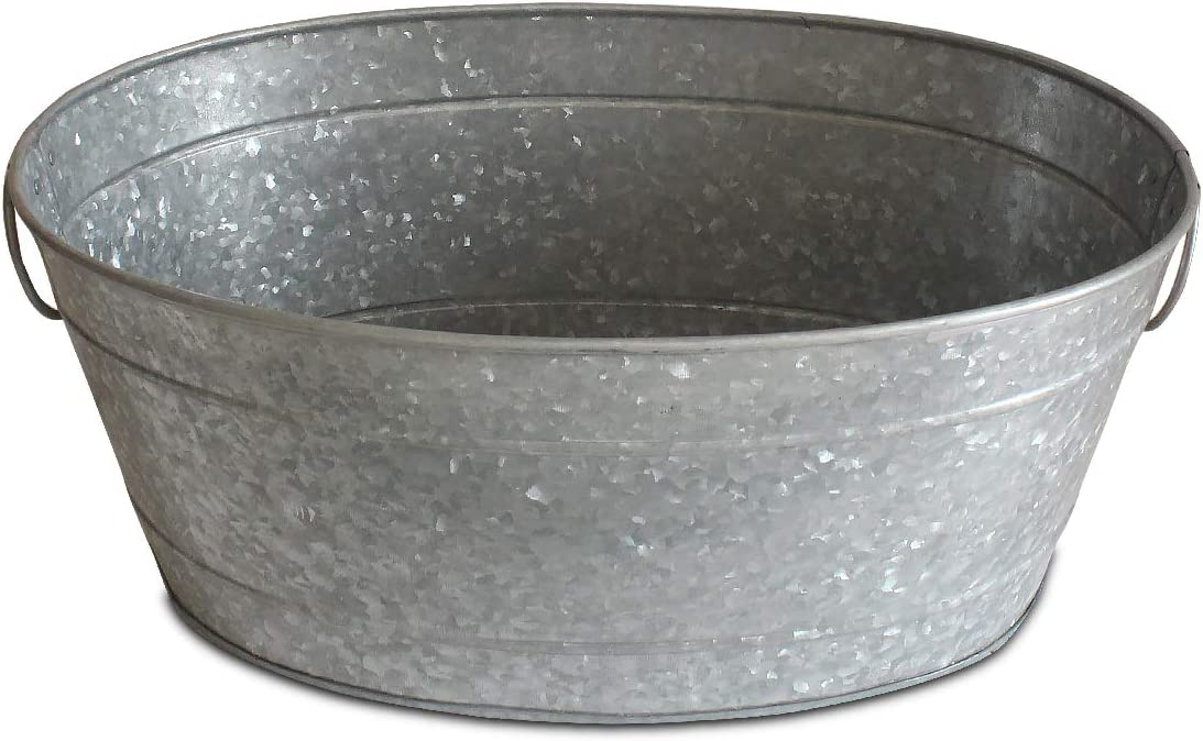 NIRMAN Galvanized metal Oval Ice bucket, Beverage Tub, Party Tray Platter,Drink Holder, with Side Handle.