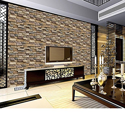 Wall stickers,vmree 3D Brick Stone Rustic Effect Wall Paper Self-adhesive Wall Sticker Art Mural Home Decor (Multicolor)