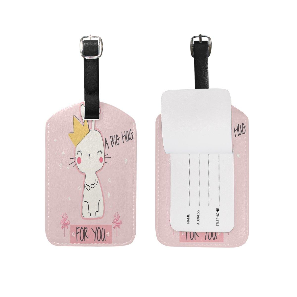 Saobao Travel Luggage Tag Cute Rabbit PU Leather Baggage Suitcase Travel ID Bag Tag 1Pcs