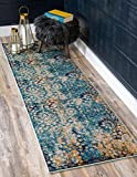 Unique Loom Vita Collection Traditional Over-Dyed Vintage Blue Runner Rug (3' x 10')
