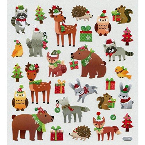 - Sticker Scrapbooking Crafts Christmas Animals Bear Birds Fox Deer Hats Trees 8.75 X 6