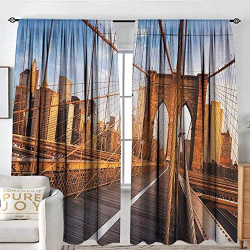 Petpany Blackout Curtains United States,Early Morning on Famous Brooklyn Bridge NYC Architecture, Pale Brown Grey Pale Blue,Rod Pocket Drapes Thermal Insulated Panels Home décor -