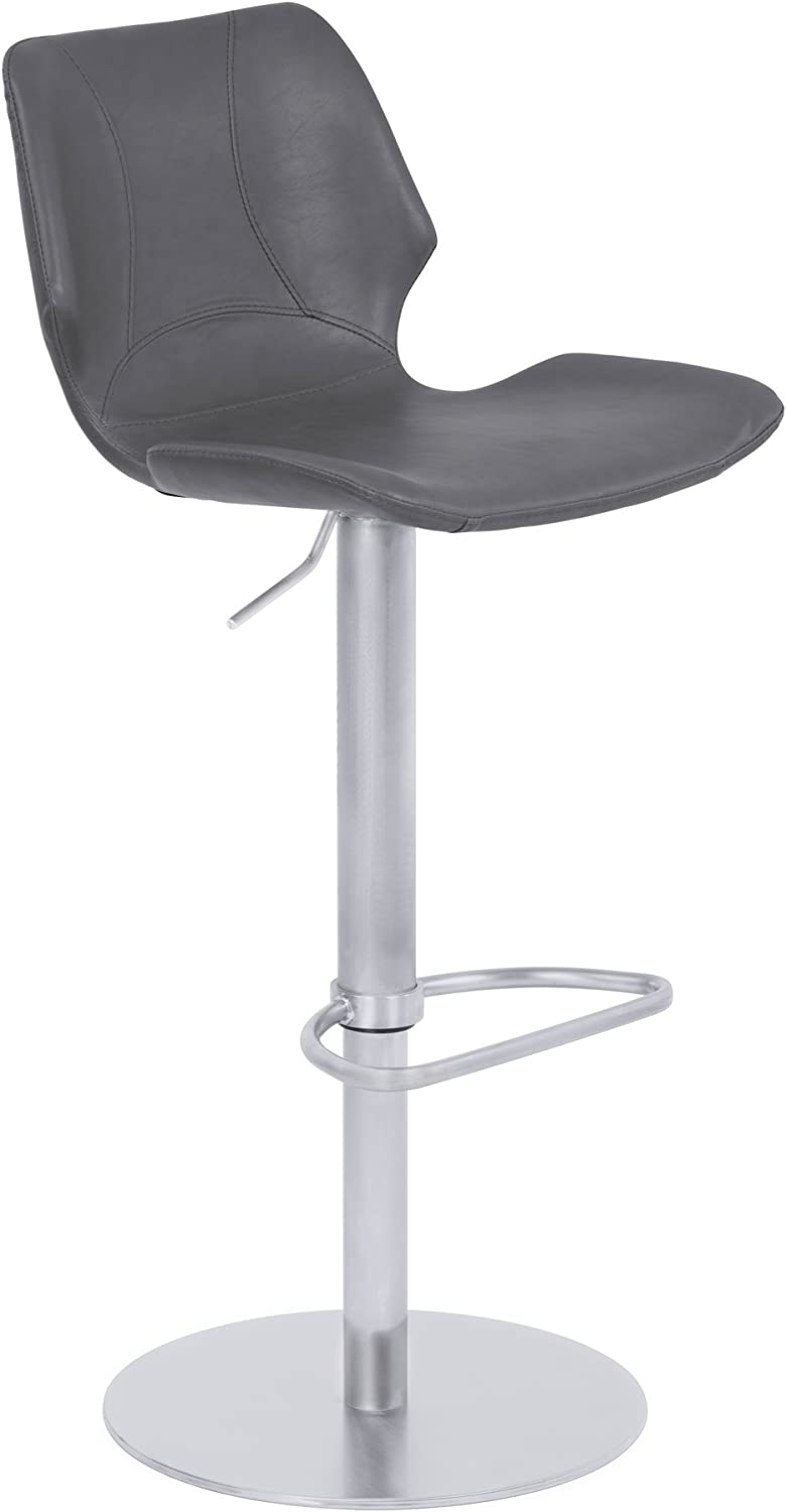 Armen Living Zuma Adjustable Barstool in Vintage Grey Faux Leather and Brushed Stainless Steel Finish