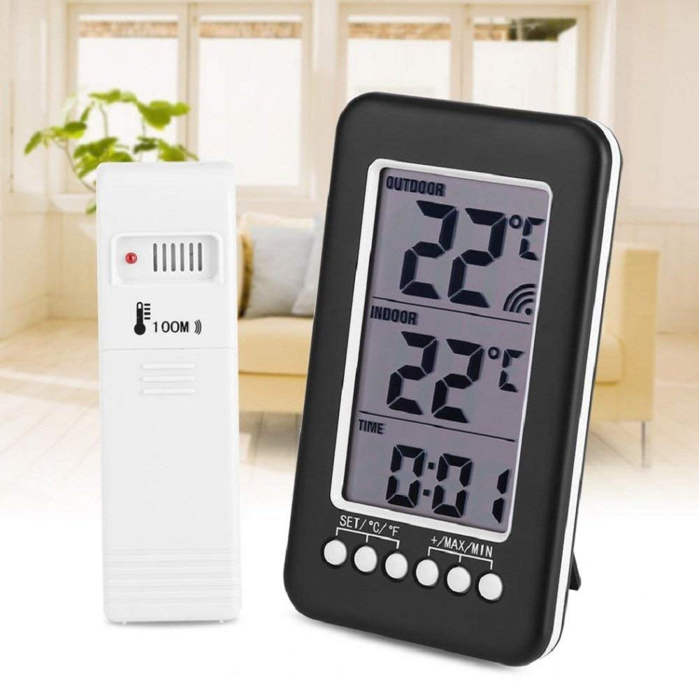 Dupeakya Refrigerator Thermometer Wireless LCD Digital Indoor/Outdoor Thermometer Clock Temperature Meter for Home,Office Comfort.