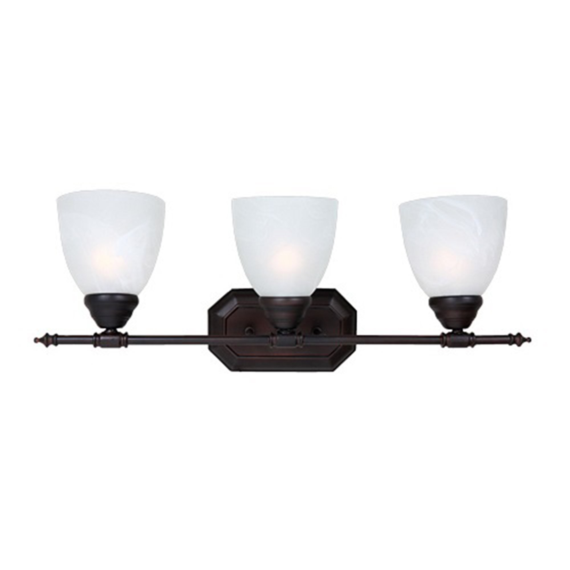 Y Decor L6433-3ORB-W Modern, Transitional, Traditional 3 Light Bathroom Vanity Fixture Oil Rubbed Bronze with White Glass By, Oil Rubbed Bronze, Brown, White