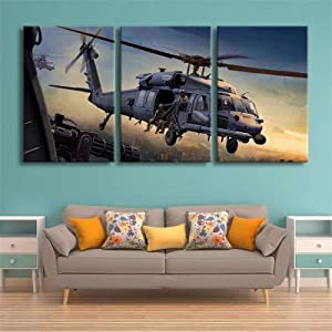 Wall Art 3 Pieces Framed Art Wall Decor Military Aircraft Sikorsky Hh-60 Pave Hawk for Home Decor Living Room Bedroom Office Stretched and Framed Ready to Hang
