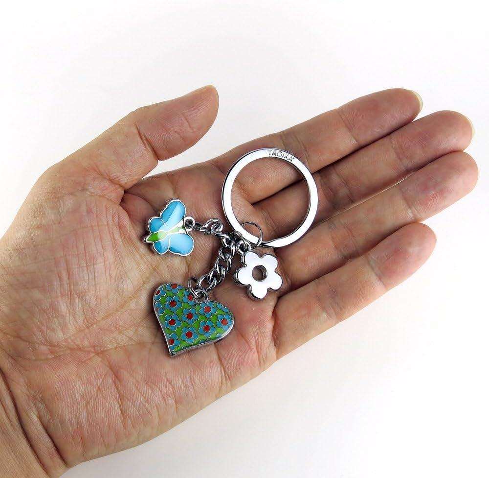 M/étal///émail TROIKA KR16-02//TQ Porte-cl/és en Forme de c/œur Turquoise 3 Breloques : Papillon Fleur Loriginal de c/œur Turquoise