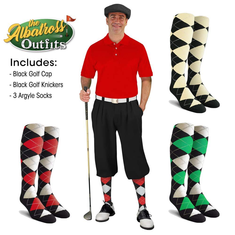メンズゴルフKnicker Outfit – ブラックゴルフKnickers、ゴルフキャップ、3アーガイルソックス ブラック