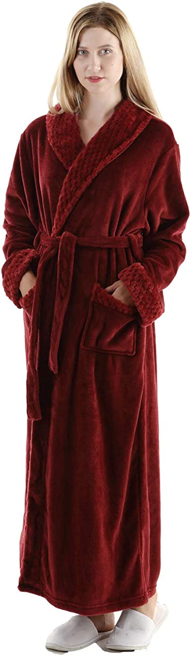 Details about  /RONGTAI Fleece Robes for Women Plush Soft Warm Long Bathrobe with Pockets