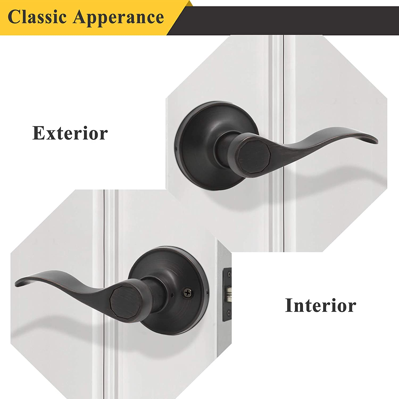Probrico Wave Passage Door Lever Satin Nickel Keyless Handle for Hall and Closet Interior Non-Locking Leverset