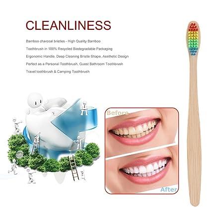 Cepillo de dientes de bambú con cerdas suaves unisex, diseño de arcoíris