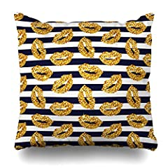 Ahawoso Throw Pillow Cover Square 18x18 Inches Swatch Navy Makeup Striped Gold Lips Glamour Blue Black Color Girls Design Zippered Cushion Pillow Case Home Decor Pillowcase 1. Zipper glides smoothly and allows easy insertion and removal of pi...