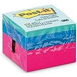 Bloco de Notas Adesivas, Post-it, 47.6x47.6mm, 400 Folhas, Colorido, Rosa/Azul/Azul Aqua