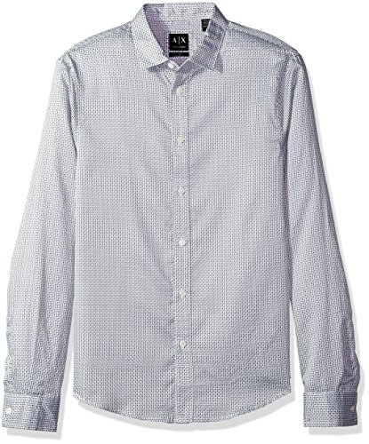A|X Armani Exchange Men's Double Dot Print Long Sleeve Shirt, WHT Base/Micro Geome, X-Large -