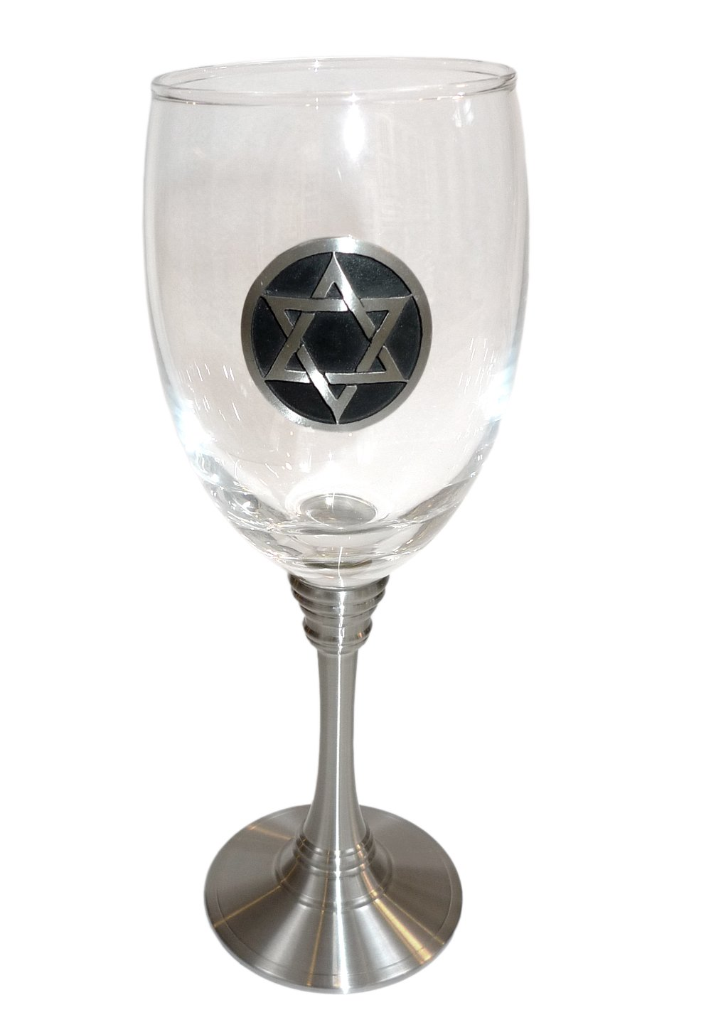 Clear Glass and Pewter Jewish Kiddush Cup