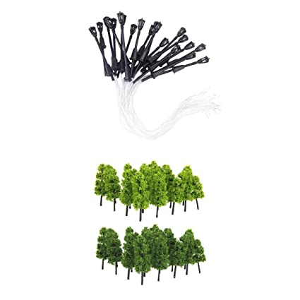 40pcs Garden Lamp Lights Model Pagoda Trees Street Diorama Scenery N Z Scale With A Long Standing Reputation Model Building Kits