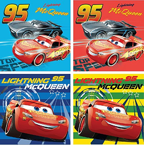 Set di gaestetuech/Hand tuech/viso tuech/seiftuech//Lavette da bagno 30 x 30 cm con Cars foto.100% cotone Javoli
