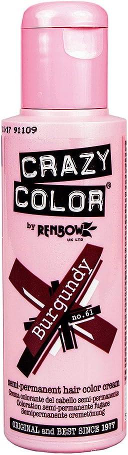 Tinte capilar semi-permanente de Crazy Color 100ml (Burgundy - borgoña)