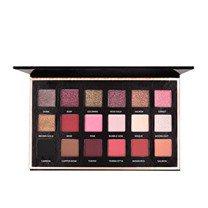 Biback 18 colores mate paleta de sombra de ojos a prueba de agua de larga duración Shimmer paleta de sombra de ojos en polvo altamente pigmentado ...