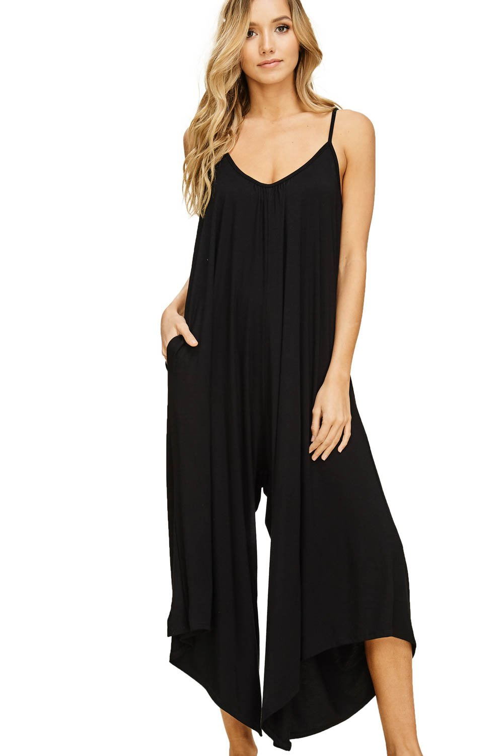 Annabelle Women's Sleeveless Strap V-Neck Wide Leg Jumpsuit with Pockets Black Small J8030