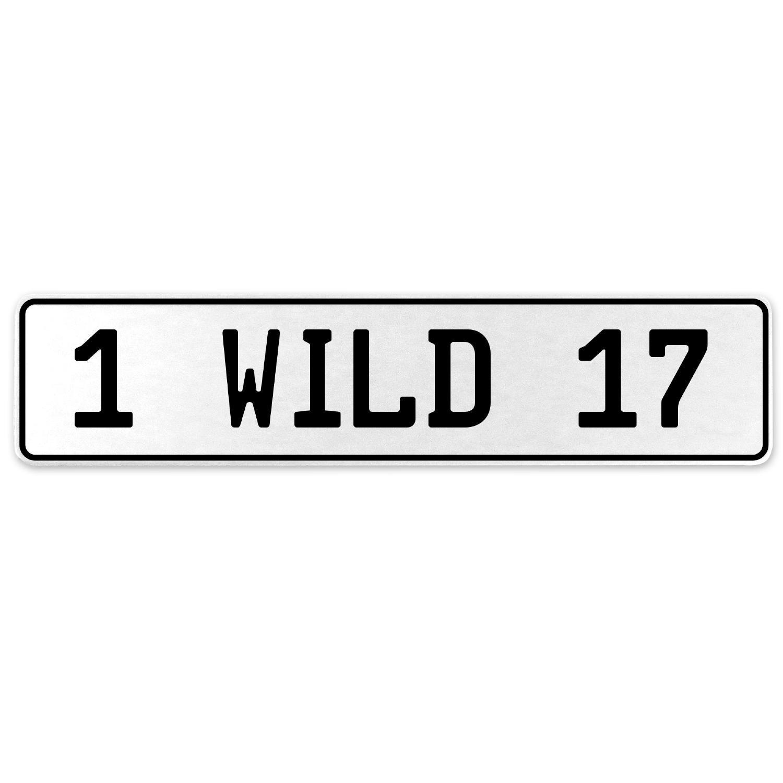 Vintage Parts 555901 1 Wild 17 White Stamped Aluminum European License Plate
