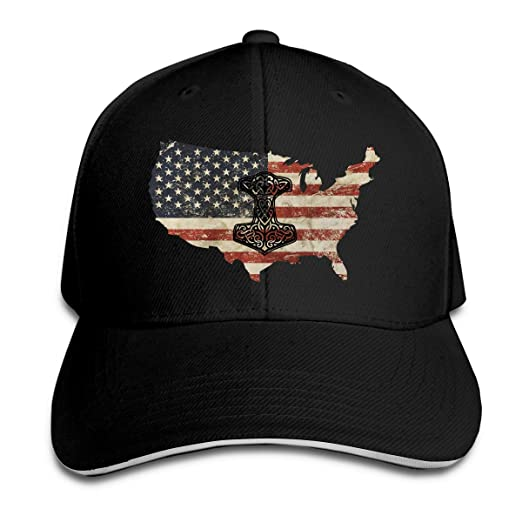 c9194c3e8f8 Image Unavailable. Image not available for. Color  Thor s Hammer Viking  Norse US Flag Sandwich Hats Baseball Cap ...