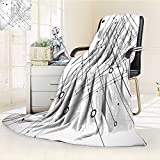 AmaPark Digital Printing Blanket Technology Geek Inspired Disc Cable Like Design Black and White Summer Quilt Comforter