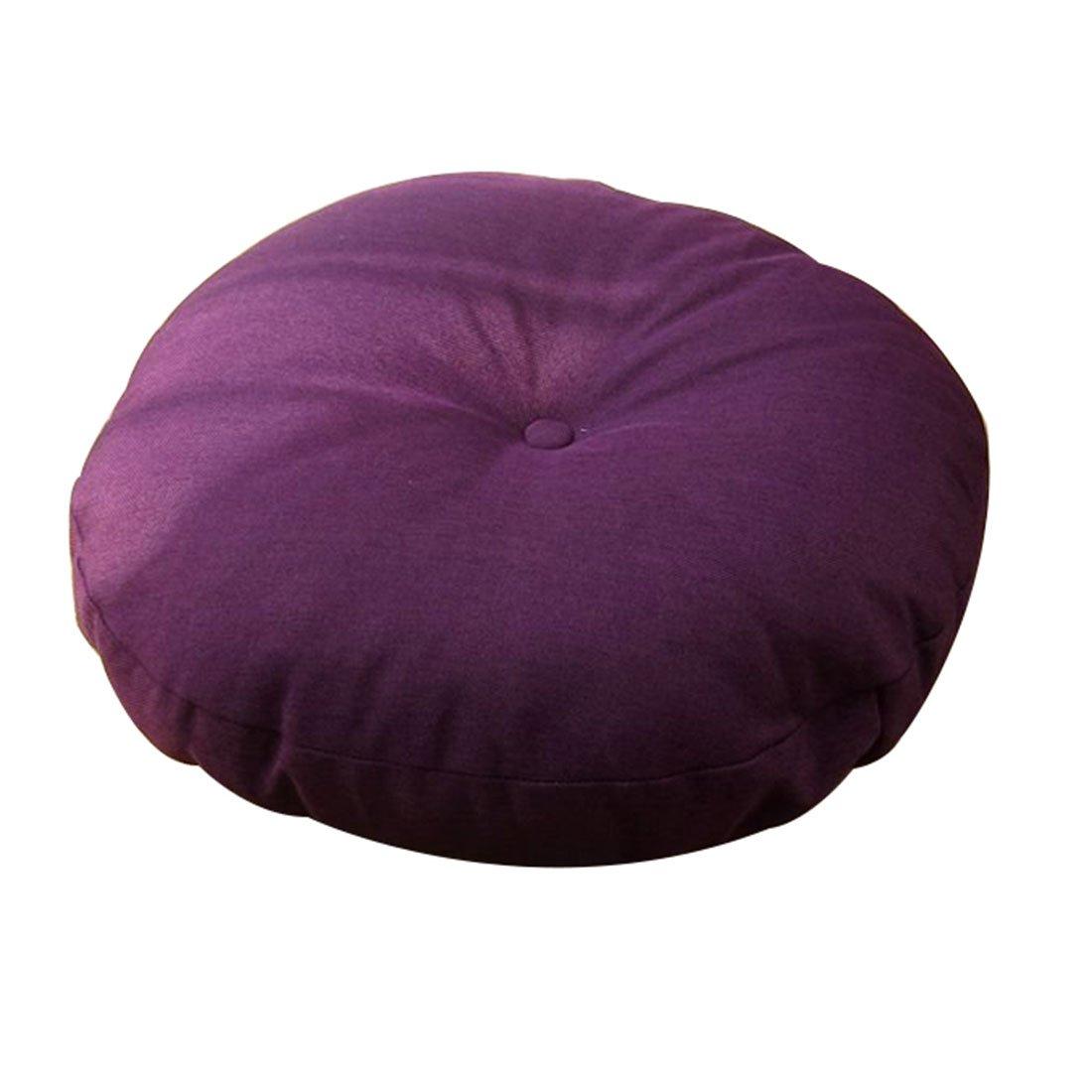 Prime Leader Japanese Style Linen Zafu Meditation Yoga Bolster Tatami Floor Pillow Cushion Japanese Futon Round Seat Cushion Thicken Chair Window Pad,Purple,15.7x4.7in(D x H